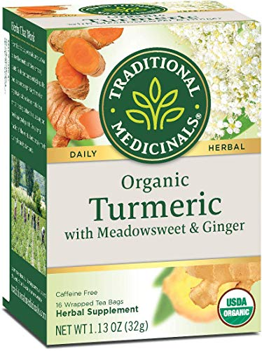 Traditional Medicinals Turmeric with Meadowsweet and Ginger, Herbal Tea, Organic, 16 CT (Pack - 3)