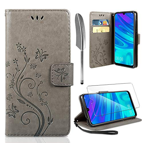AROYI Lederhülle P Smart 2019 Flip Hülle, Honor 10 Lite/P Smart 2019 Wallet Case Handyhülle PU Leder Tasche Case Skin Ständer Schutzhülle für Huawei P Smart 2019/Honor 10 Lite grau