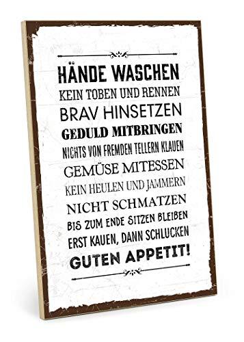 TypeStoff Holzschild mit Spruch – Tisch-BENIMM-Regeln – Schild, Wandschild, Türschild, Holztafel, Holzbild mit Zitat/Aphorismus als Geschenk und Dekoration (19,5 x 28,2 cm)