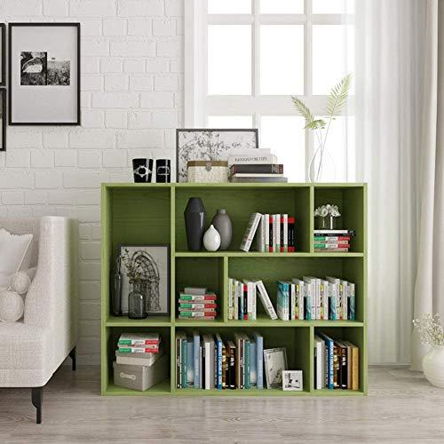 jhsms 5-8 Cube Reversible Open Shelf, Green Multifunctional Bookshelf Narrow Storage Organizer Rack Easy Assembly Modern for Records & Books-C 96x34x80cm(38x13x31inch)