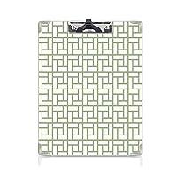 クリップボード 緑 ミニバインダー 迷路型の正方形 用箋挟 クロス貼 A4 短辺とじ長方形 幾何学的な線