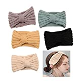 HAIRAN 5 diademas de punto, para invierno, ganchillo, cinta de punto, banda elástica para el pelo, para mujer
