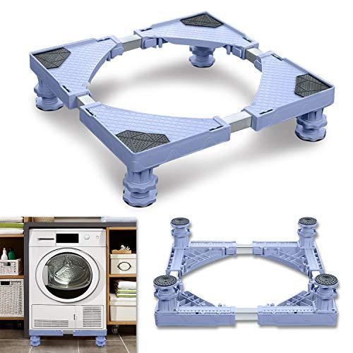 LZQ Einstellbare Waschmaschine Sockel Untergestell 4 Fuß Untergestell für Kühlschrank, Trockner, und Waschmaschine (Einstellbare Breite 44-75 cm Höhe 10-13 cm)