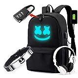 Cozyonme Smile Luminous Backpack with USB Charging Port Safety Lock & DJ Bracelet, Unisex Fashion Daypack Travel DJ Music Laptop Backpack, Black, Large
