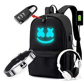 Cozyonme Smile Luminous Backpack with USB Charging Port Safety Lock & DJ Bracelet Unisex Fashion Daypack Travel DJ Music Laptop Backpack Black Large