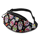 Dead Sugar Skull Fanny Pack for Men Women, Soft Lightweight Customized Waist Bag with Headphone Jack and Zipper Adjustable Strap for Outdoors