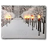 BANBERRY DESIGNS Snowy Pathway Print - LED Lighted Picture with Winter Scene - Black Lantern Light Posts and Red Bows - Christmas Wall Art