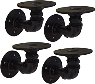 GeilSpace Rustic Industrial Pipe Floating Shelf Brackets, Double Flange, Black Paint, Set of 4 - Industrial Fittings, Flanges, Pipes for Custom Floating Shelves, Wall-Mounted DIY Bracket (2 Inch)