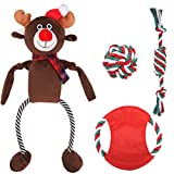 Christmas Dog Squeaky Plush Toy and Rope Toys Set - Xmas Interactive Durable Cotton Chew Toy for Aggressive Chewers Playing Teething Cleaning Soft Plush Reindeer Squeak Toy for Small Medium Large Dogs