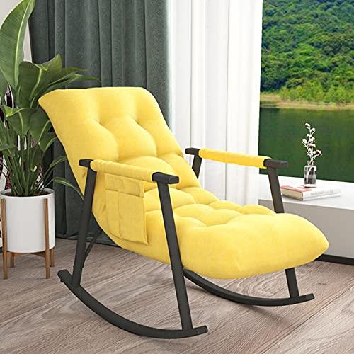 Sillón mecedora para balcón, salón, dormitorio, hogar, pequeño apartamento, adulto, siesta, tiempo libre, agitador, con bolsa de almacenamiento pequeña, color amarillo