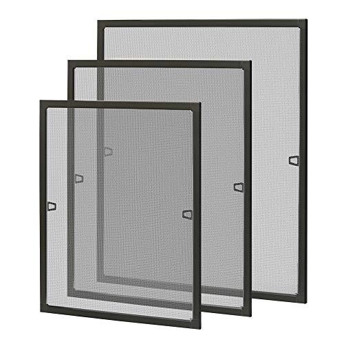 LZQ Fliegengitter Fenster Insektenschutz Fliegenschutzgitter mückengitter moskitonetz gitter mit Aluminium Rahmen ohne Bohren und Schrauben 80 × 100 cm Braun
