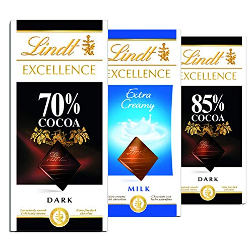 3 Barras Chocolate Suiço, Lindt Excellence Cacau Nobre, 3x100g