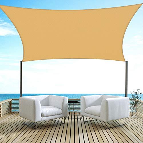 Velway Toldo Vela de Sombra Rectangular 3x3m Protección UV, Toldo Oxford 300D a Prueba de Lluvia para Patio Jardín Terraza Camping Balcón, Amarillo Arena