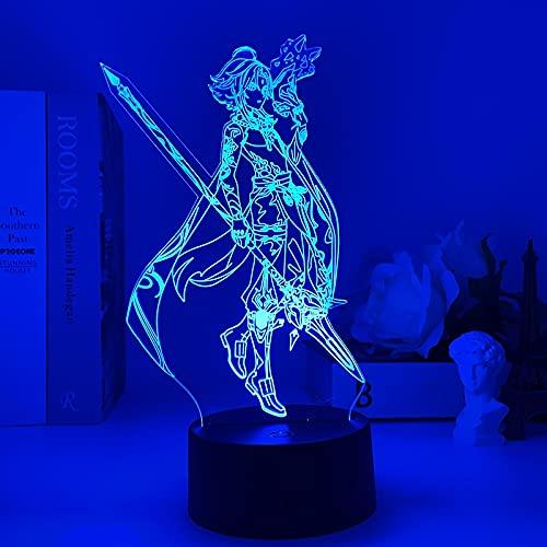 Anime Lampe Xiao Genshin Impact Figur Nachtlicht 3D Illusion Spiel Licht für Schlafzimmer Dekor LED-Licht Atmosphäre Nachttisch Kinder Fernbedienung XTBB