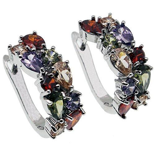 HERMOSA Silver Earring Multi Gemstones Sets Garnet Peridot Amethyst Morganite Ideal Gift Choice
