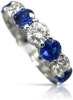 Milano Jewelers WIDE 3.85CT DIAMOND & AAA SAPPHIRE 14KT WHITE GOLD ANNIVERSARY RING 26068