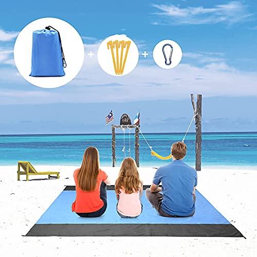 JTOOYS Picknickdecke, 200x210cm Stranddecke Wasserdicht Ultraleicht Sandfrei Faltbare Tragbare Nylon Picknickmatte Übergroße Schnell Trocknende Strandmatte Outdoor Campingdecke für Reisen Wandern