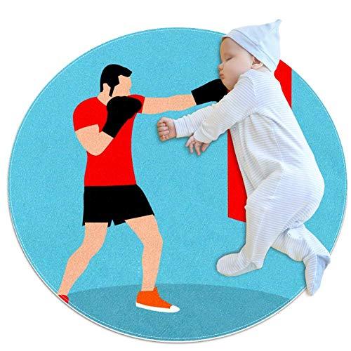 Sacco da Boxe Boy Boxing Tappeto Rotondo Antiscivolo in Poliestere Morbido per Soggiorno Camera da Letto Camera dei Bambini Sala Giochi Tappeto per Animali Domestici 100x100cm