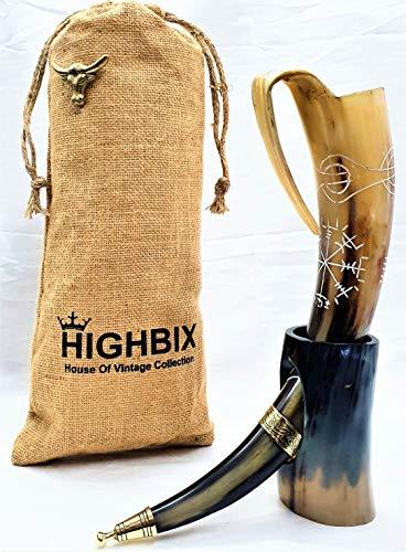 HIGHBIX Royal Viking - Cuerno para beber con soporte, 1 taza de cuerno vikingo, hecha a mano, para Mead, Ale y cerveza, taza medieval original de 20 onzas con bolsa de yute clásica