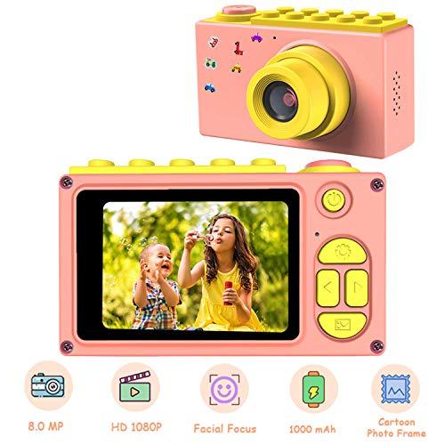 RCTOYS Kids Digitale Camera, Mini 2 Inch Scherm Childrens Camera 8 MP HD Digitale Camera met 32 GB Micro SD Kaart, Roze