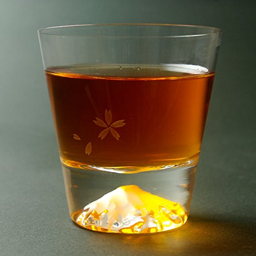 Standard Fujiyama Mt.Fuji Mountain Rocks Glass Hand Blown Old Fashioned Drinking Glass Japanese Crafts Sakura
