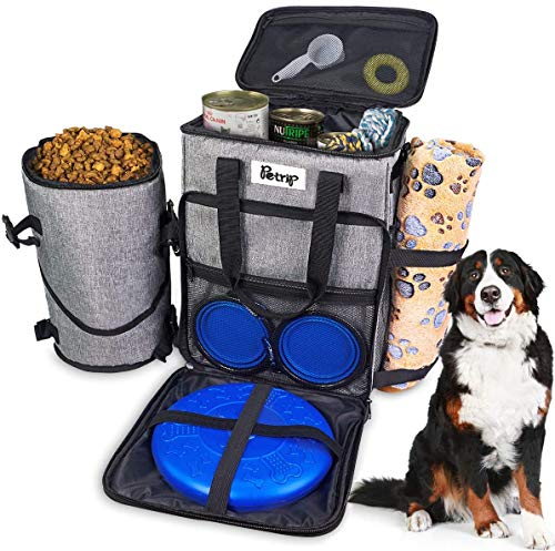 Dog Travel Bag Large, Airline Approved Dog Accessories, Dog Travel Backpack Scratch-Resistant and Waterproof, Pet Travel Bag with Dog Food Storage Container and Collapsible Dog Bowls