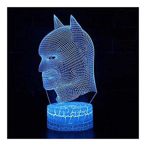 3D Lámpara ilusión Batman 3D Visual Ilusión noche de la lámpara LED de luz de cumpleaños de la Navidad de juguete de regalo for los niños de 7 colores táctil USB superhéroe de noche decoraciones de la
