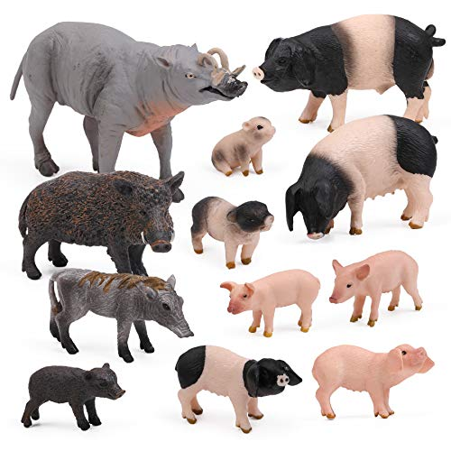 UANDME 12pcs Pig Figurines Farm World Animal Figures, Farm Creatures Figurines, Miniature Toys Cake Toppers Piggy Playset Gift for Kids