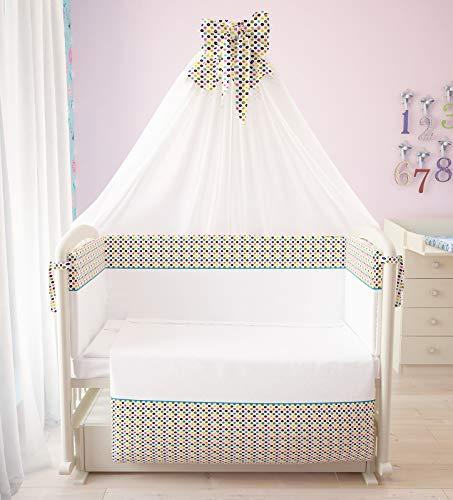 Polini Kids Baby Bett-Set Wäsche-Set 120x60 'Konfetti' 7-tlg