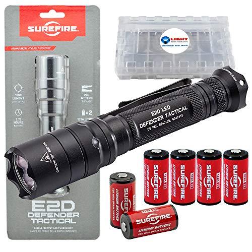 SureFire E2D Defender E2DLU-T 1000 Lumens Tactical Single-Output LED Flashlight Bundle with 4 Extra CR123A Batteries and a LightJunction Battery Case