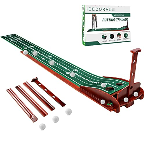 ICECORAL Indoor Golf Putting Green Mats with Auto Ball Return System, Practice Putting Mat and Solid...