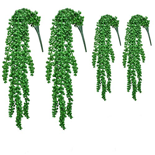 Noverlife 4PCS künstliche Perlenkette Sukkulente, gefälschte hängende Weinpflanze für Hochzeitsfeier Hausgarten Wanddekoration, künstliche Esel Schwanz Sedum Morganianum Burro Schleppende Sukkulente