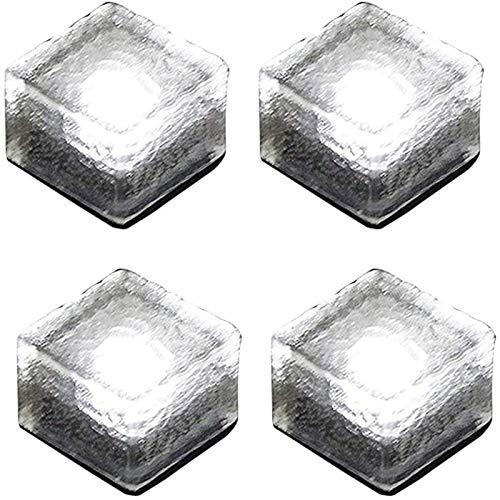 ソーラーライト ガーデンライト 4個セット 太陽光パネル充電 埋め込み式 高輝度 IP68防水 自動点灯/消灯 屋外 景観照明 電気代不要 玄関先/庭/芝生/車道/歩道 (4個, 白)