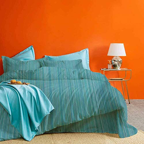 prunushome Teal Bed Set Vertical Stripes Lines Dress Fabric Patterns Contemporary Design Illustration Best Material/Highly Durable Blue Green 3 Pieces (1 Duvet Cover and 2 Pillow Shams) King Size