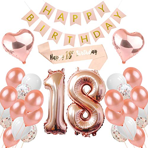 PEIPONG 18. Geburtstag Dekoration für Mädchen, Rose Gold Ballons Geburtstagsfeier Dekoration, Happy Birthday Banner, 18 Jahre Alte Rose Gold Geburtstags Dekoration