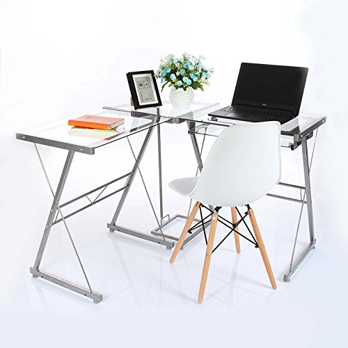 VECELO L-Shape Corner Computer Desk - Transparent