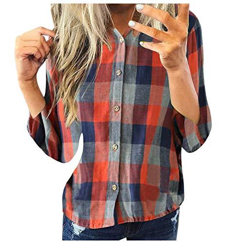 Hemd Top Frauen Mode Casual Langarm Plaid Shirt Slim Jacke (XXL,4rot)