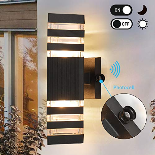 Dusk to Dawn Sensor Outdoor Wall Lights Modern Exterior Wall Sconce Porch Light Fixture, Black Up Down Light with Photocell Waterproof Wall Mount Lamp for Garage, Front Door (Use Two E26 Bulbs)