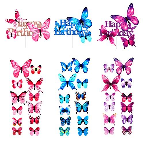 LUTER 108 Pzs Decoraciones de Pastel de Mariposa 3D + 30 Pzs Adornos para Tarta de Feliz Cumpleaños con Purpurina, para la Fiesta de Cumpleaños, Cumpleaños, Boda, Celebración de Aniversario