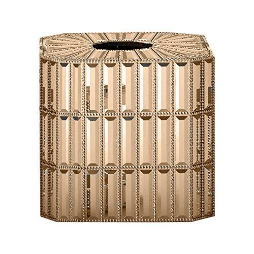 Funda de acero de Nu Boutique, parte de nuestro juego de accesorios Glitz de alta calidad, soporte cuadrado para caja de pañuelos faciales para baño, tocadores de recámara,...