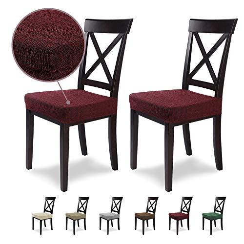 SCHEFFLER-Home Anna 2 Fundas para Asiento de sillas, Estirable Cubierta, flexibel Funda con Banda elástica, Granate Rojo
