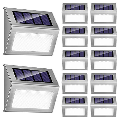 Solar Step Lights, iThird LED Solar Powered Deck Lights Outdoor 12 Pack Daylight Stainless Steel Decoration for Stair Fence Path Auto ON/Off Weatherproof Upgrade