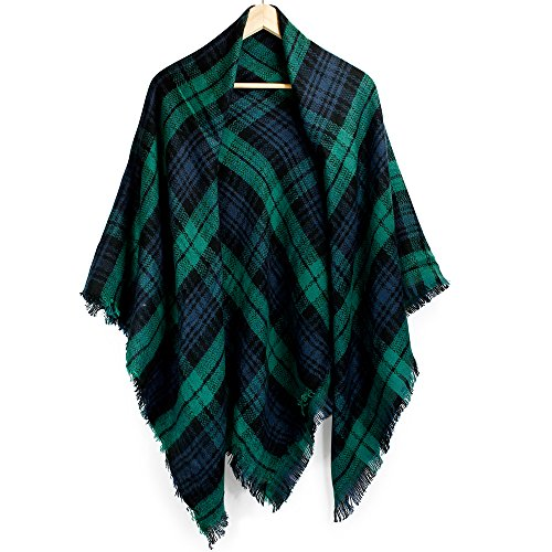 Oct17 Plaid Scarfs for Women Pashmina Tartan Wrap Large Warm Blanket Soft Shawl Checked Winter Fall Scarfs Scarves for Woman - Green