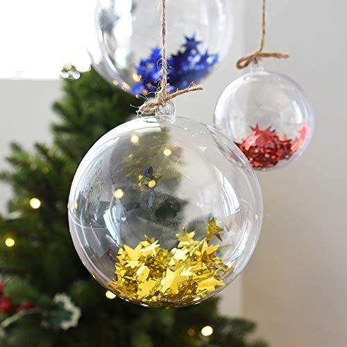 SPTwj 20 bolas de Navidad rellenables de plástico transparente para árbol de Navidad, boda, fiesta, decoración del hogar, 6 cm