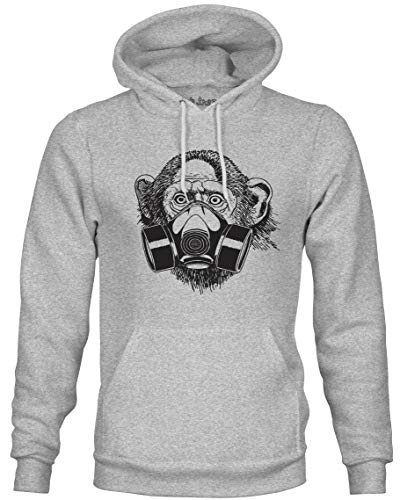 Ink Trendz Pandemic Gas Mask Monkey Streetwear Pullover Mid-Weight Hoodie Sweater (Small) Heather Grey