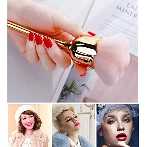 DROHOO Pro Rose Fleur Maquillage Pinceau Fond de Teint Poudre Blush Contour Pinceau Cosmétique, Rose