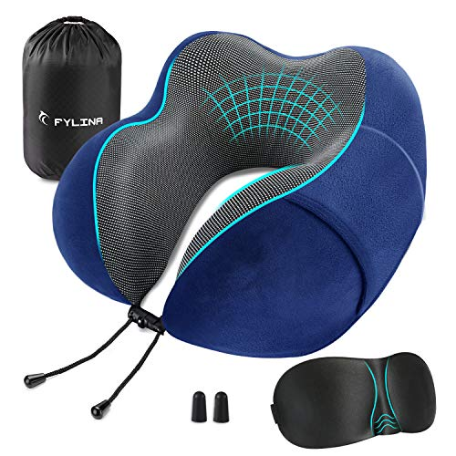 FYLINA Travel Pillow, Memory Foam Neck Pillow with Carry Case, Eye Mask and Ear Plugs, Comfortable Portable Neck Head Support Cushion for Airplane Train Car Travelling Reading Sleeping