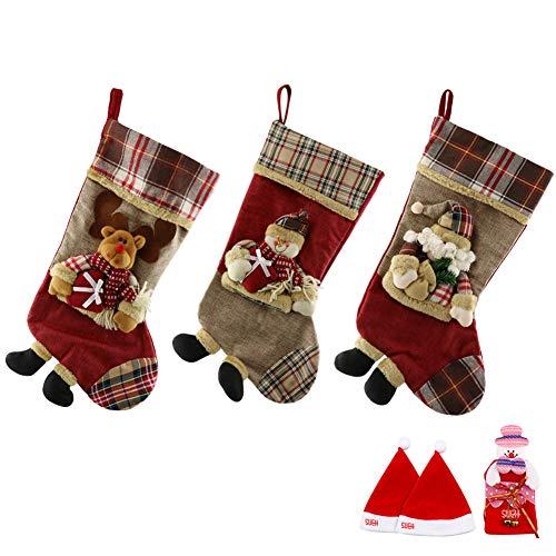 SueH Design Medias Navidad 3 Pack 48cm | 2 Sombreros