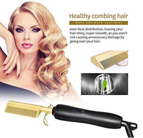 Plancha para el cabello Top Beauty, 450ºF Peine caliente de cerámica de...