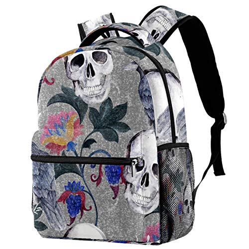 Lightweight Backpack College School Bag Laptop Daypack for Adults and Kids Casual Rucksack Skull Raven